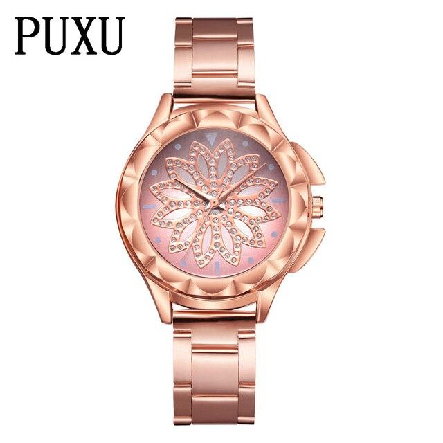 Women Dress Watches Rose Gold Stainless Steel PUXU Brand Fashion Ladies  Wristwatch Creative Quartz Clock Cheap 8a961083becd