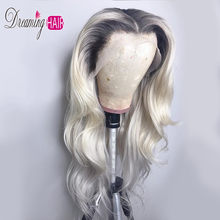 Brazillian Body Wave Lace Front Human Hair Wig 1B 613 Ombre Blonde Colored Preplucked Lace Wig Human Hair 13x4 For Woman Black(China)