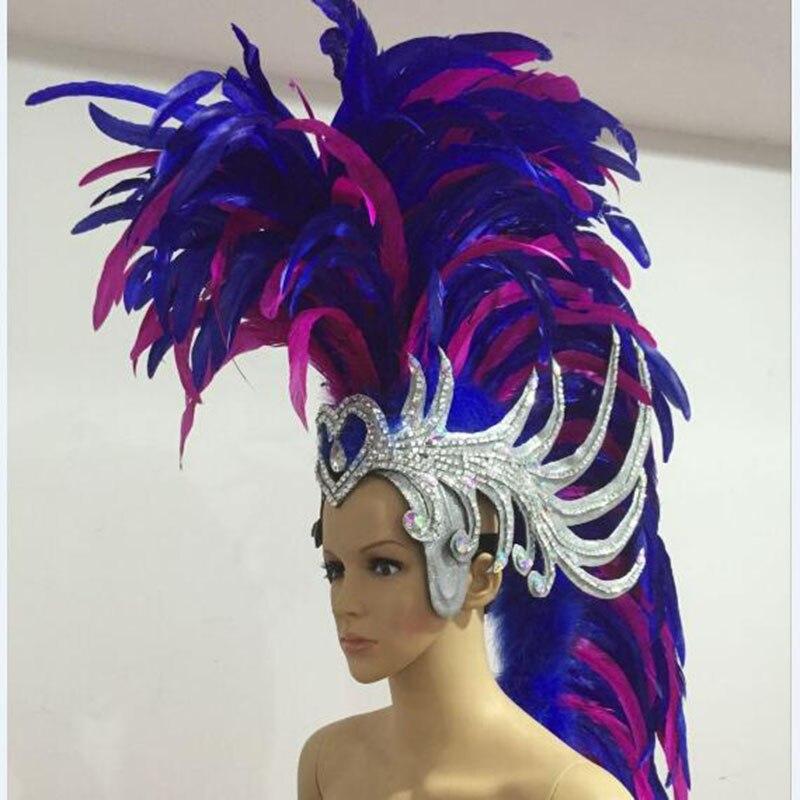 a384fb974d4 Blauw roze wit rood oude rome soldaat veer hoofdband samba party show veer  carnaval hoofdtooi voor
