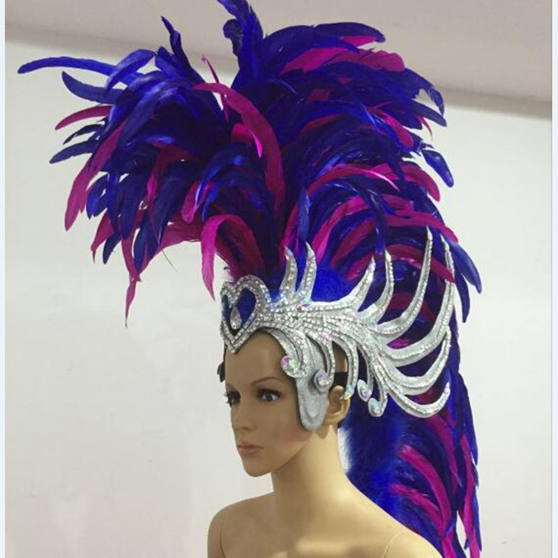 blue pink white red ancient rome soldier feather headband samba party stage show feather carnival headdress for men blue indian luxury headpieces king queen unisex cosplay costumes diamond feather headdress for women and men peagents carnival