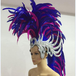blue pink white red ancient rome soldier feather headband samba party stage show feather carnival headdress for men
