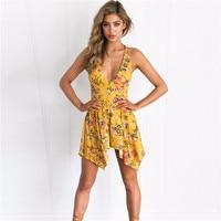 2017 Women Summer Chiffon Beach V Neck Jumpsuit Floral Print Sleeveless Loose Rompers Ruffles Sexy Sundress