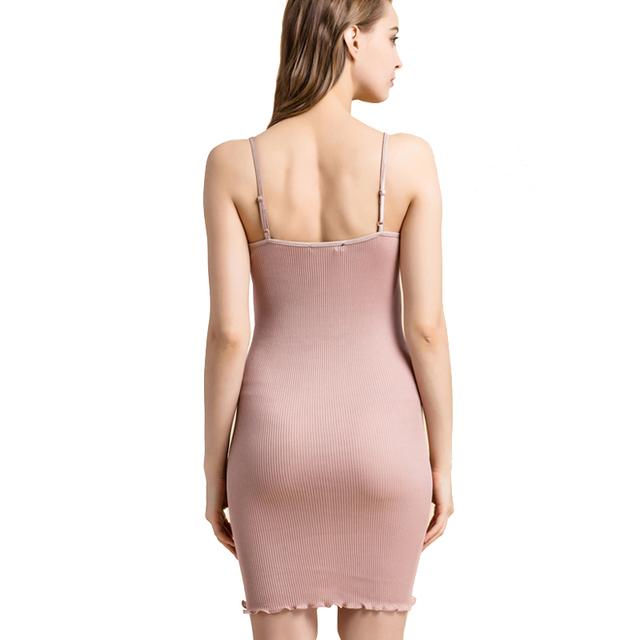 Women Full Slips Sexy lace slip 70%Natural Silk 30%Cotton Anti emptied slips Comfortable underwear 2017 Sleep dress White Black