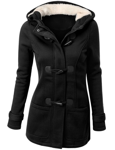 Winter Coat Women 2017 New Fashion Women Wool Blends Slim Hooded Collar Zipper Horn Button Long Coats Outerwear special button