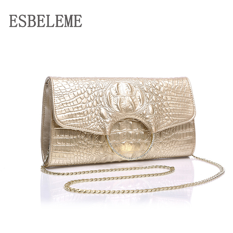 Luxury Alligator Genuine Leather Women Evening Bags for Female Embossed Champagne Black White Clutches Ladies Party
