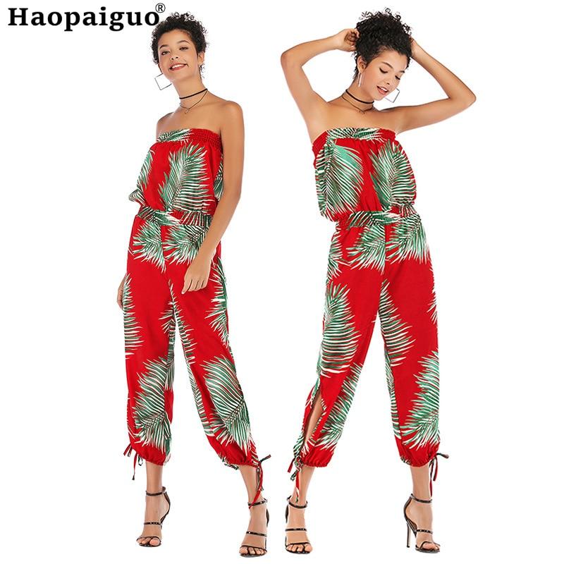 Plus Size Jumpsuit Summer Women Sleeveless Print Long Jumpsuit Casual Club Wear Wide Leg Slash Neck Elegant Jumpsuit Combinai