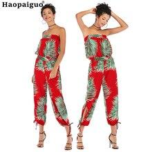 Plus Size Jumpsuit Summer Women Sleeveless Print Long Jumpsuit Casual Club Wear Wide Leg Slash Neck Elegant Jumpsuit Combinai недорого