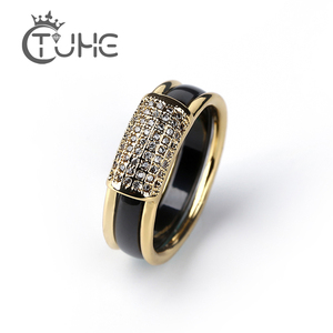 2 pcs/Set Hot Sale Fashion 585 Gold Rings With Bling Rhinestone 2 Layer Black White Detachable Ceramic Rings for Women Jewelry(China)