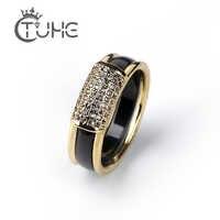 2 teile/satz Heißer Verkauf Mode 585 Gold Ringe Mit Bling Strass 2 Schicht Schwarz Weiß Abnehmbarer Keramik Ringe für Frauen schmuck