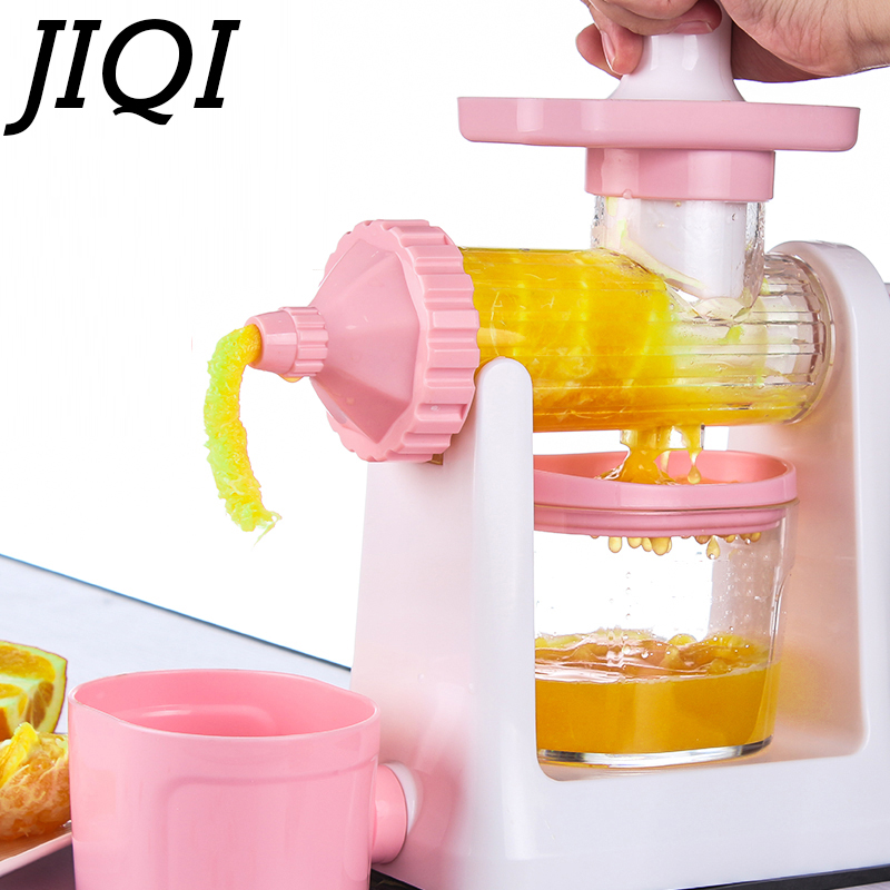 JIQI Hand press slow Juicer ice cream Squeezer manual Low Speed orange Juice Extractor DIY Fresh fruit Vegetable Machine Blender  slow juicer fruit vegetable citrus low speed juice extractor squeezer soymilk higher juice rate
