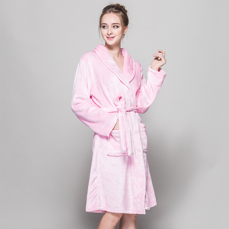 Flannel Bathrobes Women Ladies Pink Bridesmaid Long Night Gown Autumn Winter Bath Robes Adults Pajams Kimono
