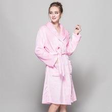 Flannel Bathrobes Women Ladies Pink Bridesmaid Long Night Gown Autumn Winter Bath Robes Adults Pajams Kimono