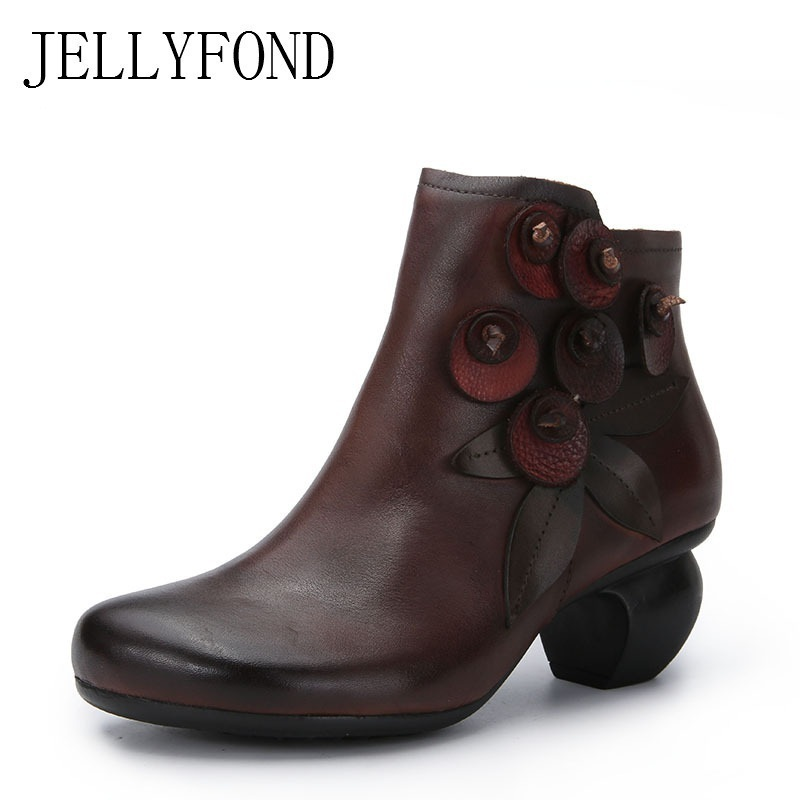 2018 Vintage Genuine Leather Platform High Heels Boots Women Ankle Boots Handmade Calfskin Flower Patchwork Winter Shoes Woman elegant handmade women boots flower high quality women shoes autumn and winter genuine leather thick heels platform ankle boots