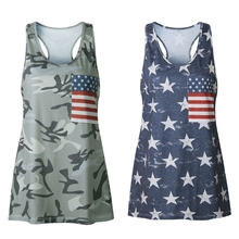 Womens Casual Sleeveless Camouflage  American Flag Print Camo Shirts camo print mixed