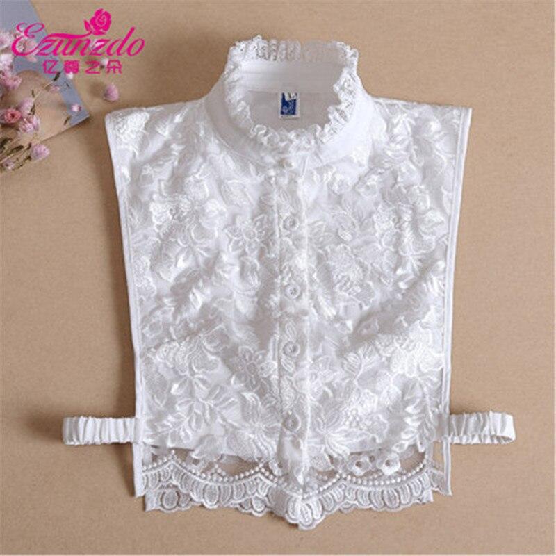 YIZUNZHIDUO Women Fake Collar White&Black Shirts False Collar Lace High Neck Fashion Korean Lapel Blouse Top Clothes Accessories