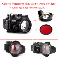 Meikon 130ft Underwater Camera Housing Case for Sony A6300 Camera,Camera Waterproof Bags Case + Dome Port lens + 67mm red filter