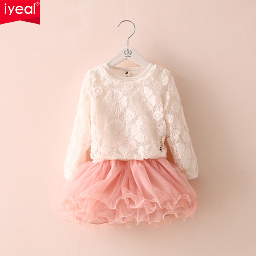 IYEAL Girls Lace Tops With Chiffon Layered Tutu Dresses Kids Girls Clothes Spring Autumn Children Baby Clothing Set 2PCS/Set 2pcs children outfit clothes kids baby girl off shoulder cotton ruffled sleeve tops striped t shirt blue denim jeans sunsuit set