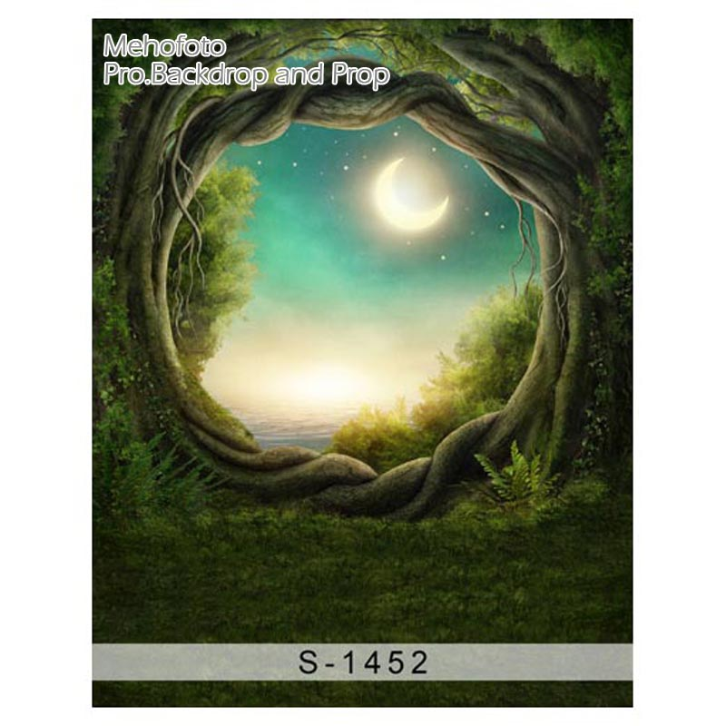 Vinyl Newborn  fairy tale Computer-painted beautiful scenery Photography Background Photo Studio Backdrop S-1452 bright full moon 8 x12 cp computer painted scenic photography background photo studio backdrop dt sl 196