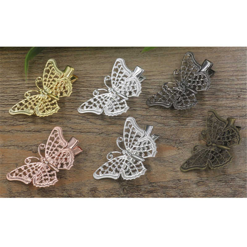 BoYuTe (40 Pieces/Lot) Wholesale Vintage Filigree Butterfly Flower Hair Clip Diy Hand Made Hairclip Jewelry Accessories