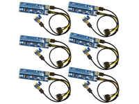 6 Pack Ver006C Mining Riser Card USB 3.0 PCI e Express PCIE Riser Card SATA to 6Pin Power Cable Monero BTC ETH Bitcoin Miner