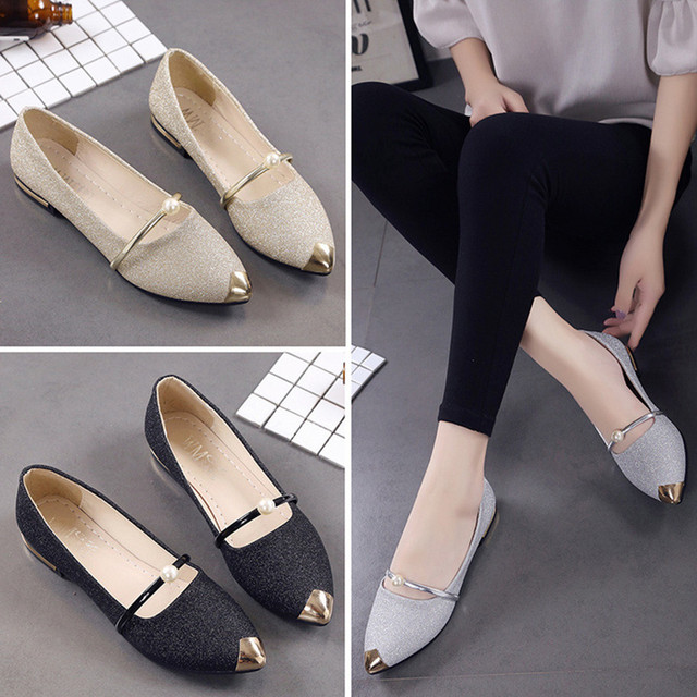56a860667c1 2018 Women Pointed Toe Ladise Shoes Casual Low Heel Flat Shoes Woman Hand  sewn Leather Loafers Cowhide Flexible summer Casual -in Women s Flats from  Shoes ...