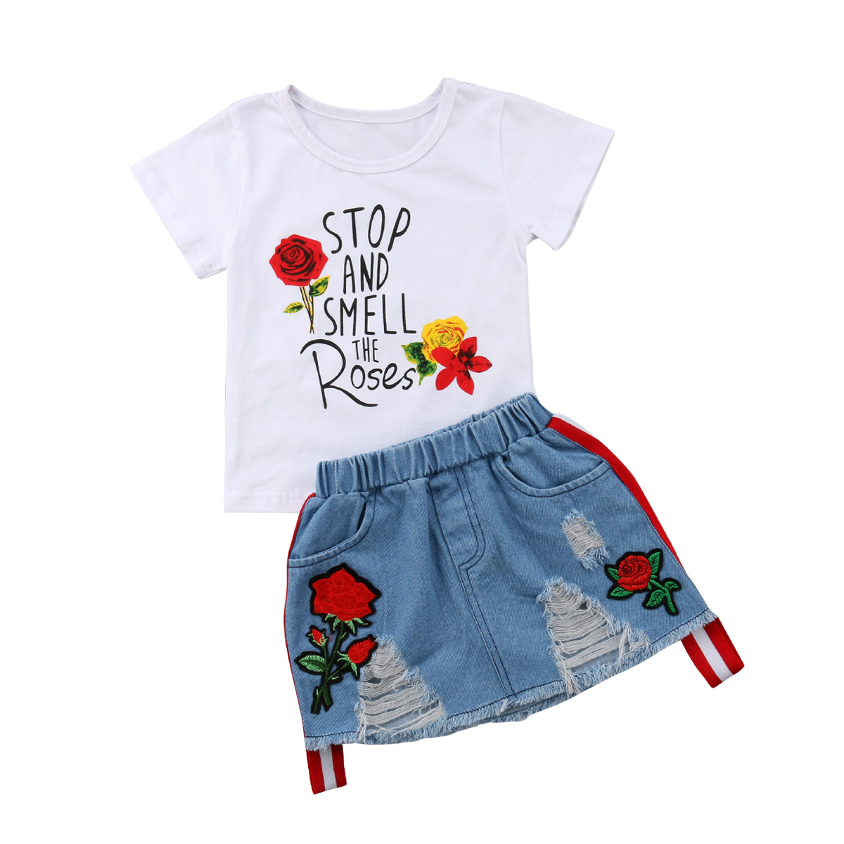 Toddler Kids Girl Denim Skirt Set with Rose Flower Letter Print T-shirt Tops 2pcs Outfits kids outfits letter pattern tops in white