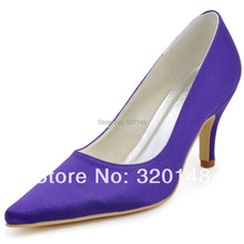 New Arrival Sexy High Heel Shoes EP2131 Pointed Toe Purple 3inch Cone Heel Satin Prom Pumps