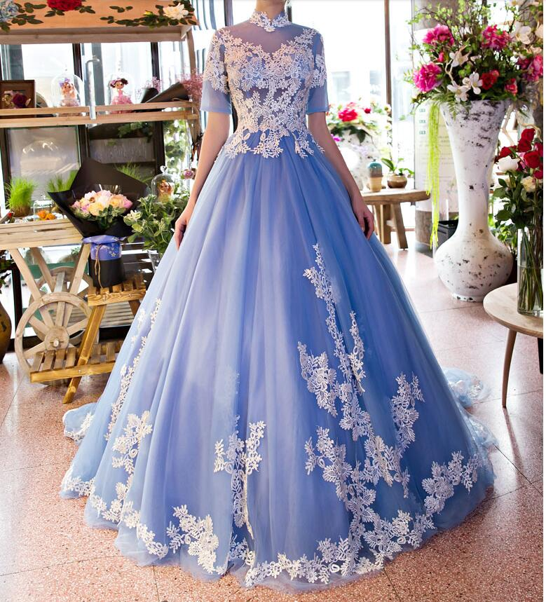 Ivory Lace Bodice Ball Gown Wedding Dress With Sheer Long: 2017 Blue Ball Gown Colorful Wedding Dresses With Short