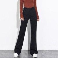 2018 осень зима расклешенные джинсы для Для женщин широкую ногу свободные черные джинсы женские Высокая Талия клеш длинные джинсовые штаны
