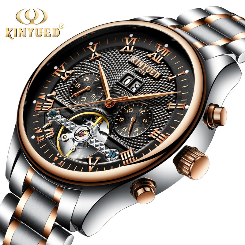 KINYUED Top Brand Mens Mechanical Watches Automatic Stainless Steel Waterproof Skeleton Watch Men Calendar Relojes Hombre 2017 tevise men black stainless steel automatic mechanical watch luminous analog mens skeleton watches top brand luxury 9008g