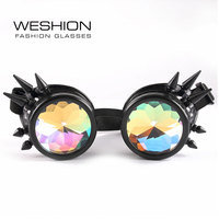 2017 WESHION Steam Punk Sunglasses Men Kaleidoscope Women Shades Party Catwalk Black Round Glasses Retro Vintage