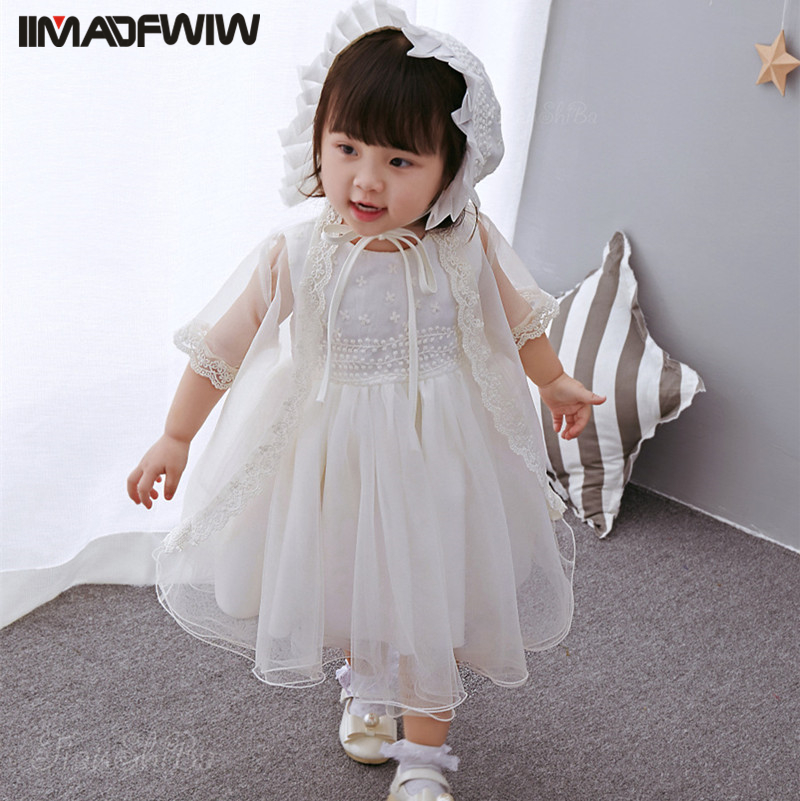 Baby Super Soft Yarn Dress Infant Cotton Dress Princess Girls Sleeveless Dress + Shawl + Cap Color White For 2017 Spring Summer baby dress shawl girl princess dress