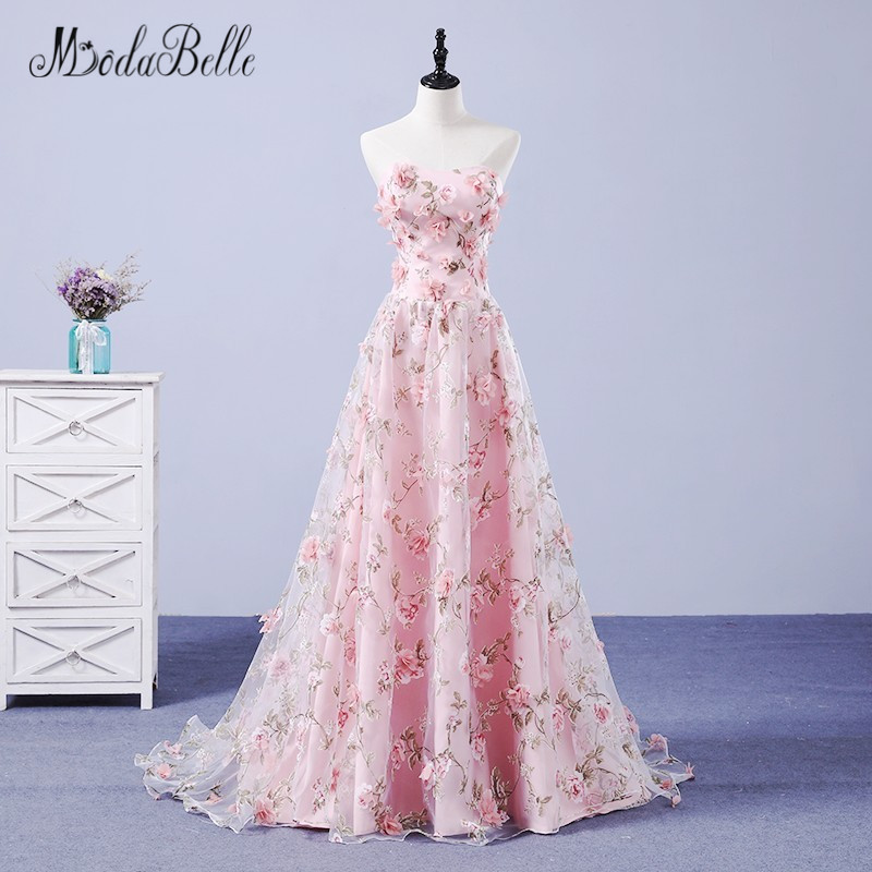 modabelle 3D Flowers   Evening     Dresses   Long 2017 Mother And Daughter Matching   Dress   For Wedding Party Abiye Gece Elbisesi