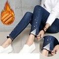 2015New Plus Size mulheres lace Rhinestone de lã calças quentes calças Jeans calças lápis inverno elástico de cintura alta império legging