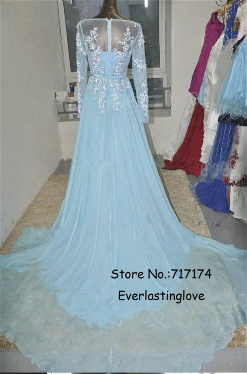 Pretty Mint Blue Chiffon Long Sleeves Prom Dress With Applique And ...