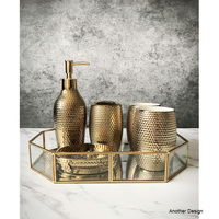 Home Decor bathroom sets gold plated luxury decor creative figurine
