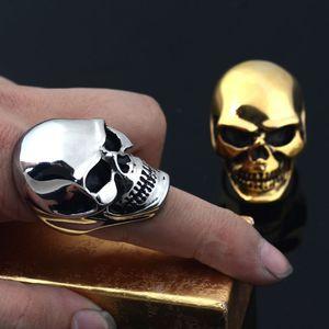 Valily Vintage Men's Stainless Steel Skull Rings Silver Black Gothic Skull Bone Biker Ring Big Motorcycle Ring for Man Size 7-15(China)