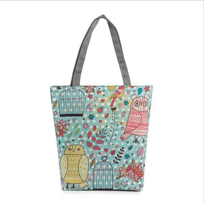 2016 Hot Canvas Cartoon Owl Bag Designer Retro Women Handbags High Quality Tote Shoulder Bag Shopping Bags Female