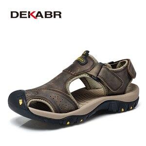 Image 5 - DEKABR Sandalias de piel auténtica para hombre, zapatos informales transpirables, para la playa, para verano, 2020