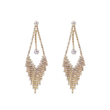 New Fashion Metal Rhinestone Tassel Earrings Long For Women Super Flash Dangle Female