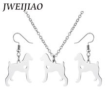 f09877e57 JWEIJIAO German Shorthaired Pointer Dog Necklace Earrings Sets Silver Color Dog  Necklaces Stianless Steel Jewelry Gift SKU18