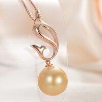 GNpearl 18 К золото натуральный круглый морской жемчуг цепочки и ожерелья 925 серебро простой кулон s для женщин подарок с мелкие бриллианты