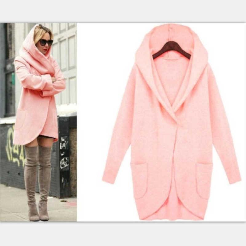 2019 Herfst Jas Vrouwen Wollen Jassen Pocket Lange Mouwen Capuchon Vrouwen Overjas Cotton Blend Jacket Vesten Plus Size 4XL