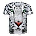 Branco T-Shirt Do Tigre leopardo 3d crewneck imprimir camiseta mulheres homens verão roupas de estilo harajuku casual tops tees plus size M-XXL
