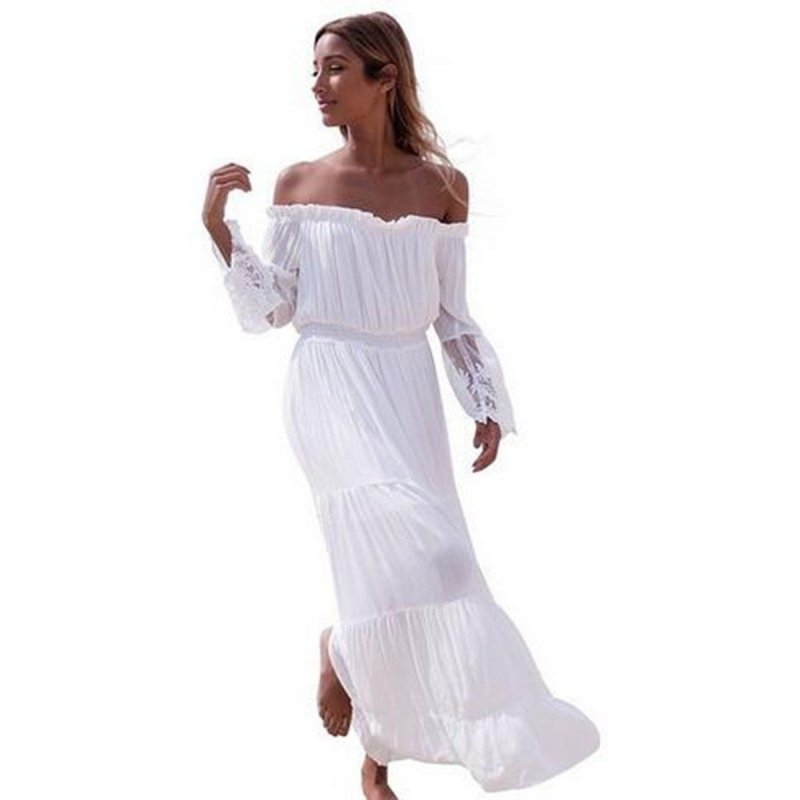2017 Summer Sexy Lace Sundress Women Boho Long Maxi Dress Bodycon Evening Party Beach White Dresses S4