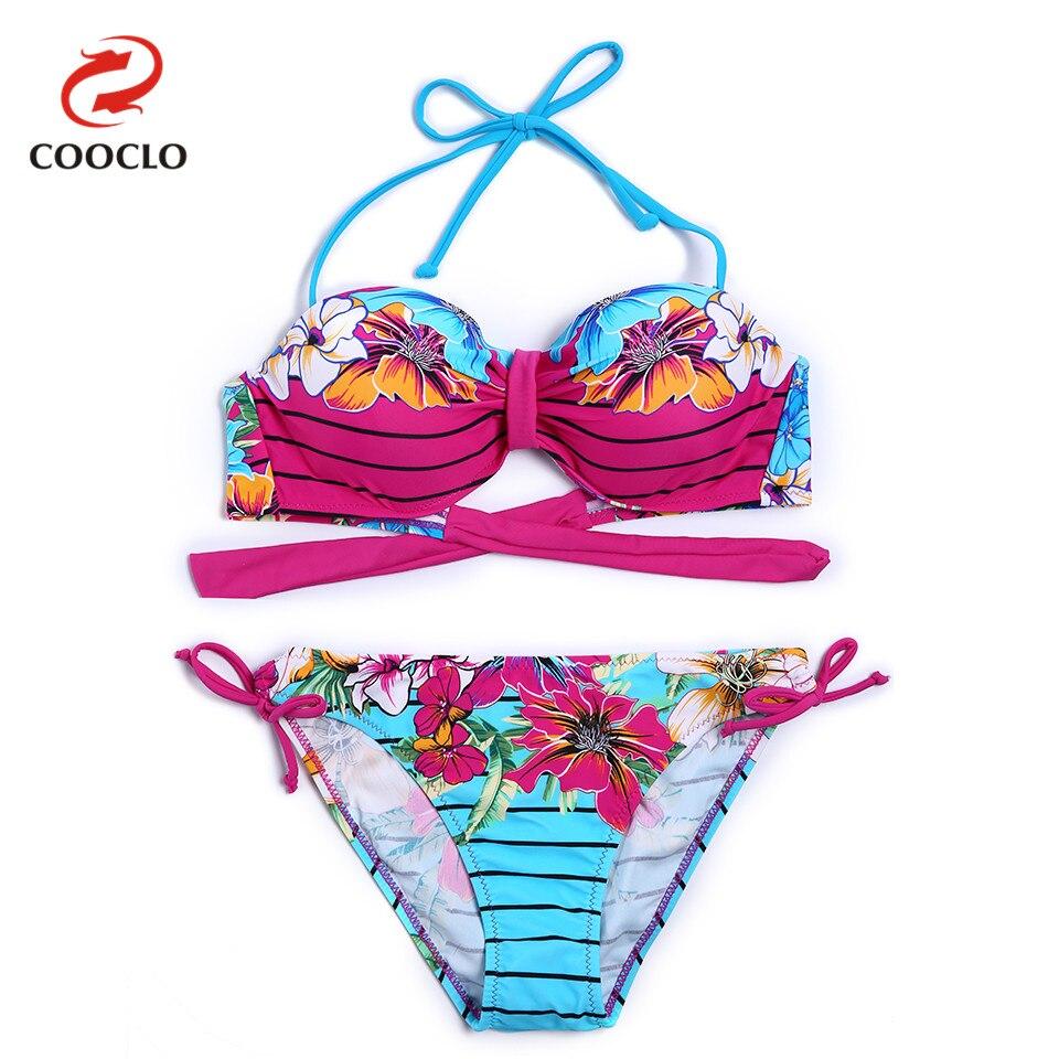 COOCLO 2018 сексуальный комплект бикини Бандо Цветочный полосатый женщин купальники Пляжная купальный костюм пуш-ап купальник Бразильский biquini