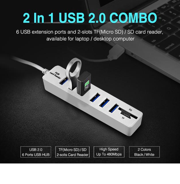 Micro USB Hub 2.0 Multi usb Ports Combo SD/TF Card Reader Hub USB Splitter 6/3 Port usb Adapter For Computer Laptop Accessories