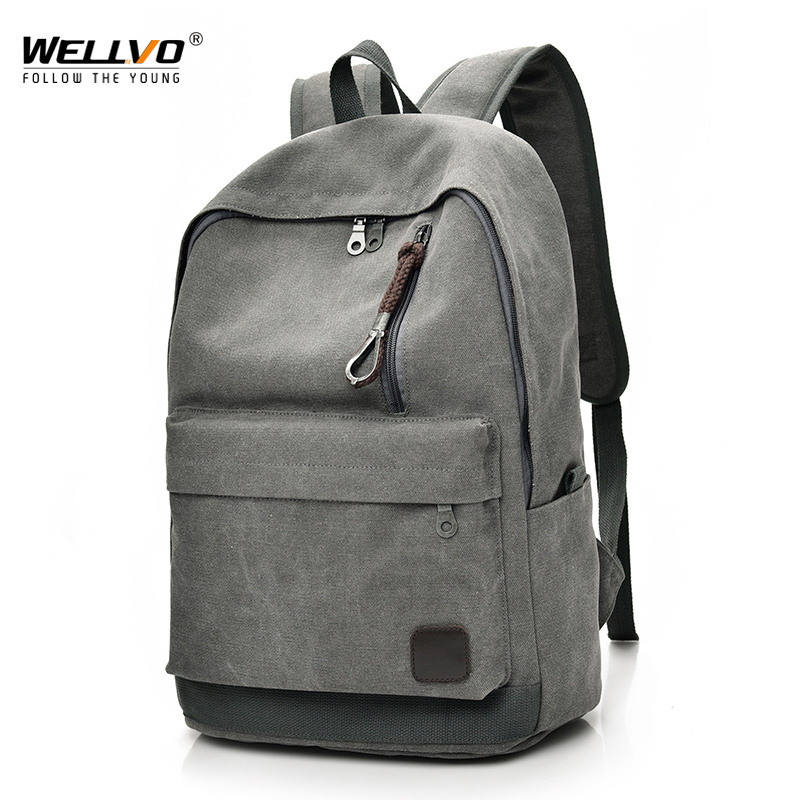 Women Men Canvas Backpacks Large School Bags For Teenager Boys Girls Travel Laptop Backbag Mochila Rucksack Grey Xa1931c