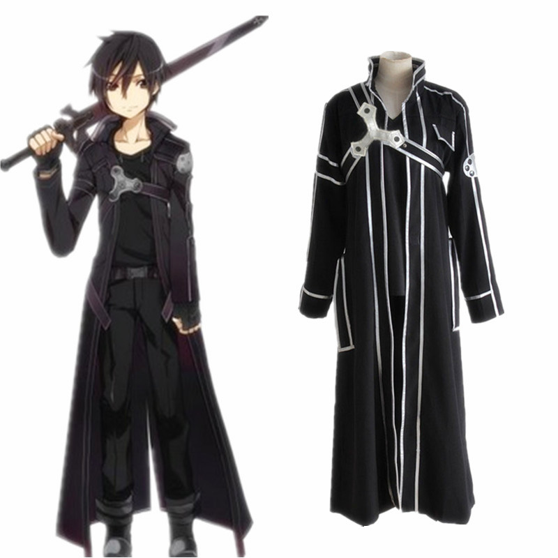 b56702b2ca Sword Art Online Kirito Cosplay Costume Coat In Stock Anime Sword Art Online  Kirito Cosplay Clothes ~ Free Shipping June 2019
