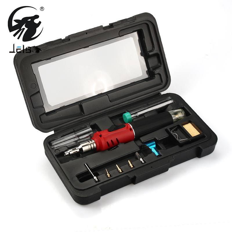 Jelbo 10 in 1 Electronic Ignition Gas Soldering Iron Welding Kit Gas Soldering Iron Tool Set Inflatable Iron Welding Assembly